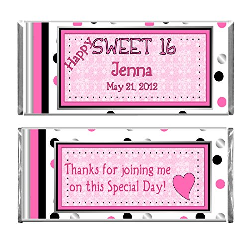 Personalized Custom Wrappers Pink Sweet 16 Birthday Party