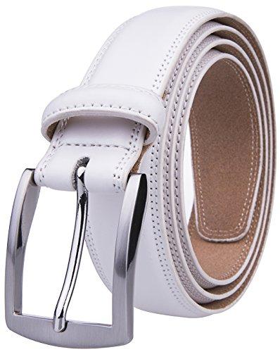 Leather White Belt Buckle - White Belt Men (44, White)