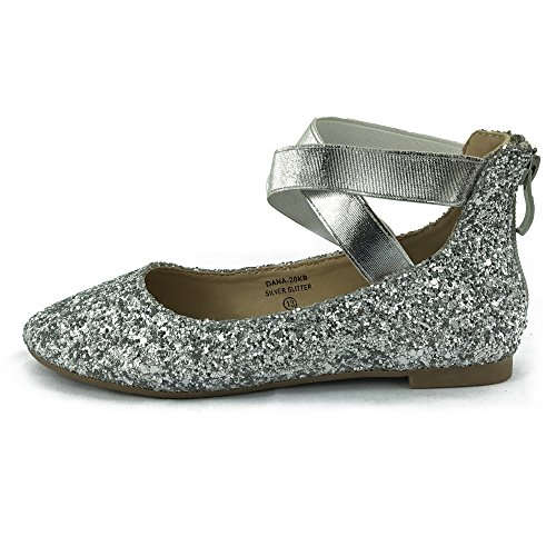 Girl Kids Dress Ballet Flat Elastic Ankle Strap Casual Flats Stretchy Strap Slip On Ballerina Shoes Silver (Straps Girls Dress)