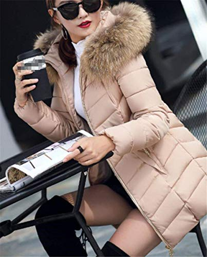 Retro Bolsillos Con Mujer Kahki Laterales Outerwear Sólido Invierno Cremallera Manga Color Acolchada Piel Larga Capa Chaqueta Cómodo Cuello De Capucha Elegante T0qzxwA
