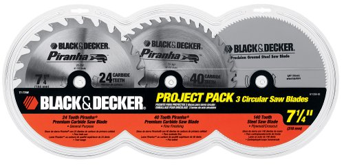 Black & Decker 77-778W 3 Blade Project Pack with 7-1/4-Inch 24 Tooth Combination Blade, 40 Tooth Combination Blade, and 40 Tooth Paneling and Plywood Blade