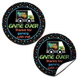 Game Truck Birthday Party Sticker Labels, 20 2'' Party Circle Stickers by AmandaCreation, Great for Party Favors, Envelope Seals & Goodie Bags