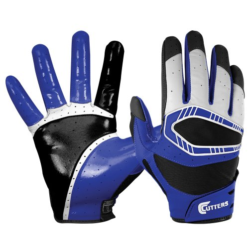 Cutters Football Glove Receiver (Cutters Gloves REV Pro 3D Receiver Glove (Pair), Royal, X-Large)