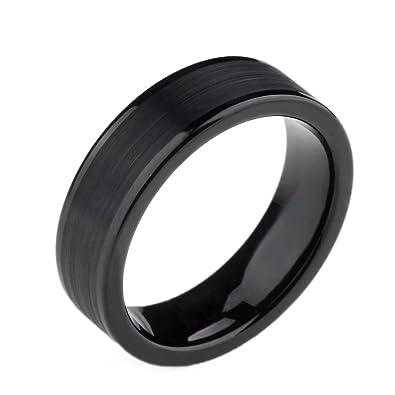 6mm mens womens black titanium ring flat brushed pipe cut wedding band size