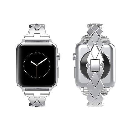 TINERS Compatible Apple Watch Band Metal Reloj Inteligente Correa Deportiva 3/2/1 Serie