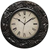 wine and grape kitchen clock - Infinity Instruments Napa 13.5 inch Silent Sweep Wall Clock