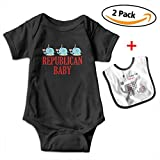 Brooke Shelley Republican Baby Cute Elephant Baby Boys' Girls' Short-Sleeve Bodysuits Rompers