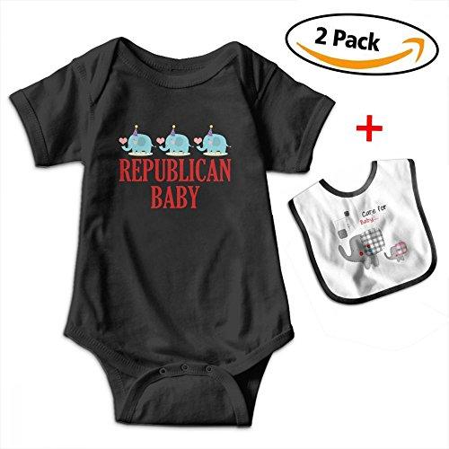 Brooke Shelley Republican Baby Cute Elephant Baby Boys' Girls' Short-Sleeve Bodysuits Rompers by Brooke Shelley