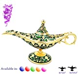 Legend Aladdin Magic Genie Light Lamp Pot Classic Color Brass Aladdin Genie Lamps Incense Burners … (Green and Gold, Regular)