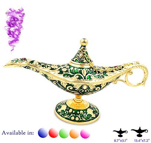 Aladdin Magic - Legend Aladdin Magic Genie Light Lamp Pot Classic Color Brass Aladdin Genie Lamps Incense Burners … (Green and Gold, Regular)