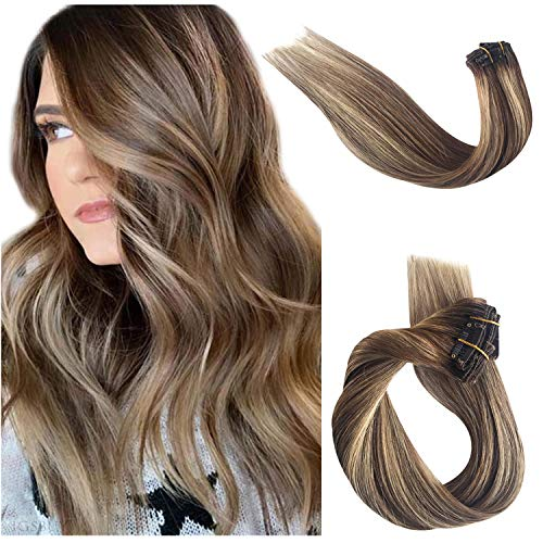 Real Human Hair Extensions Clip in Remy Hair Extensions Clip on for Women Ombre Balayage Chestnut Brown with Beige Blonde Highlights Double Weft Soft Silky Straight Glueless 70g 7pcs 16 Clips 15 Inch