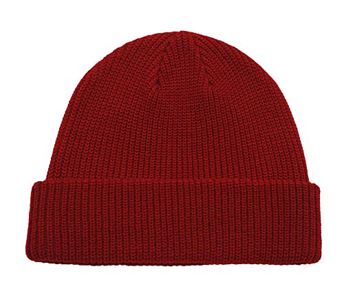 Acrylic Knit Wool (Connectyle Classic Men's Warm Winter Hats Acrylic Knit Cuff Beanie Cap Daily Beanie Hat (Dark Red))