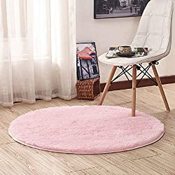 Junovo Round Fluffy Soft Area Rugs for Kids Room Children Room Girls Room Nursery,4 Feet,4-Feet,Pink