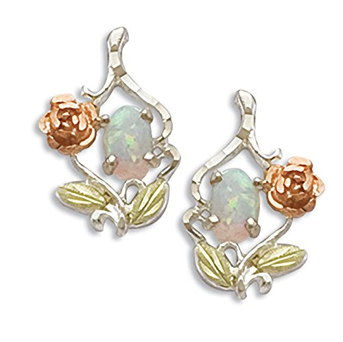 Landstroms Silver Rose Earrings with 10K Gold Rose, Leaves and 6X4 MM Created (Black Hills 10k Opal Ring)
