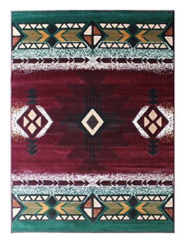 South West Native American Area Rug 5 Ft X 7 Ft Burgundy Design # C318