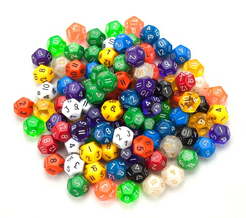 Wiz Dice 100+ Pack of Random D12 Polyhedral Dice in Multiple Colors