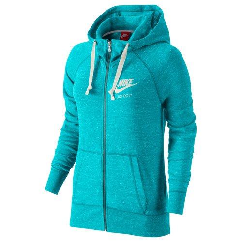 Nike Womens Gym Vintage Full Zip Hoodie Omega Blue/Sail Sweatshirt SMALL