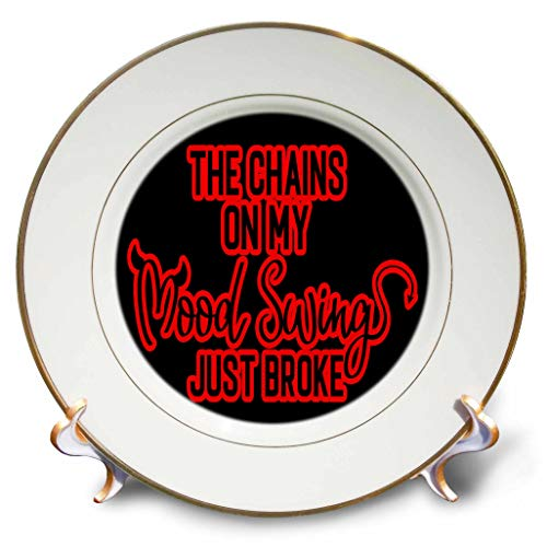 3dRose AMansMall Funny Quotes - Chains On My Mood Swings Just Broke, Devilish - 8 inch Porcelain Plate (cp_313495_1) ()