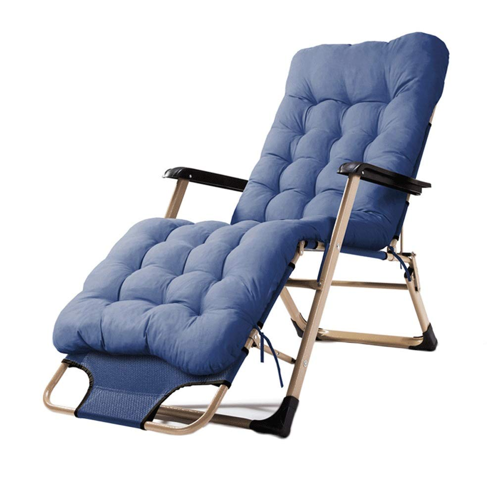 Wang Chun Lounge Chair Foldable Lunch Break Chair Home Adjustable Back Lazy Cool Chair Summer Beach Getaway Chair with Cotton Pad A++ (Color : B) by WH-lounge chair