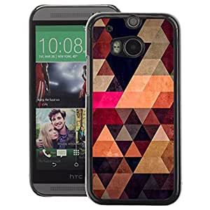 A-type Arte & diseño plástico duro Fundas Cover Cubre Hard Case Cover para HTC One M8 (Purple Triangle Pattern Stylish)