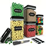 Chef's Path Airtight Food Storage Container Set - 6 PC Set - 10 FREE Chalkboard Labels & Marker - BEST VALUE Kitchen & Pantry Containers - BPA Free - Clear Durable Plastic with Black Lids