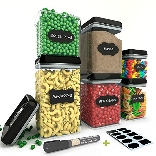 Chef's Path Airtight Food Storage Container Set - 6 PC Set - 10 FREE Chalkboard Labels & Marker - BEST VALUE Kitchen & Pantry Containers - BPA Free - Clear Durable Plastic with Black Lids by Chef's Path