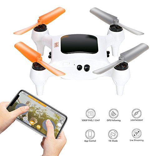 Smart Nano Drone With 15MP Camera 1080P FHD Live Video WiFi Quadcopter GPS, One Touch Take-Off And Landing For Beginners On iPhone Or iOS Device by Acumen