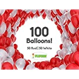 Flipzon Balloon Pack of 100 Pieces (Red & White) for Birthday Party Decoration & Occasions