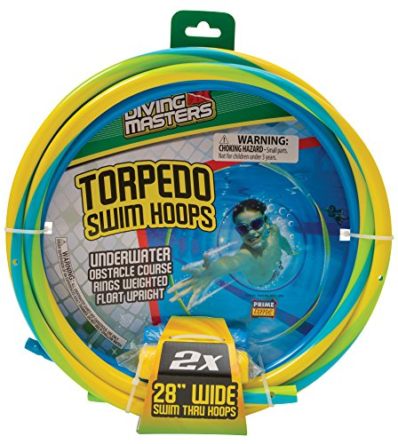 Diving Masters Torpedo Swim Hoops Set, 2-Pack - Pool Master Diving Rings