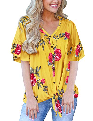 (Floral Tops for Women Loose Casual Tshirts Summer Clothing Nursing Shirts Yellow S)