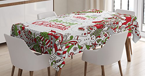 Christmas Tablecloth by Ambesonne, We Wish You a Merry Christmas Hand Written Greeting Snowman Santa Sock Hat Beard, Dining Room Kitchen Rectangular Table Cover, 60 W X 84 L Inches, Multicolor (Hat Santa Snowman)