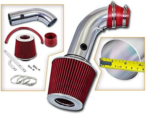 00-02 Daewoo Lanos 1.5 1.6L L4 Filter Combo RED For 04-08 Chevy Aveo Rtunes Racing Short Ram Air Intake Kit