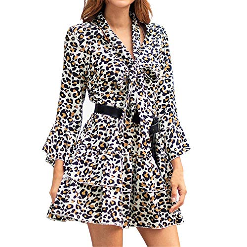 Vest Cloth Shooting (TIFENNY Women's Leopard Print Boho Maxi Dress Spring Holiday Long Sleeve V Neck Bow Mini Dress with Pocket)