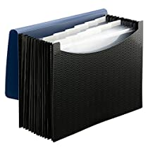 Smead Poly Frequency Expanding File, 12 Pockets, Flap and Cord Closure, Letter Size, Blue/Black ( 70863)