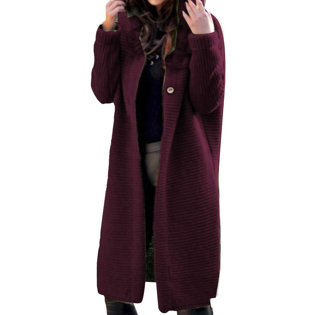 Funnygals - Womens Open Front Cardigans Hoodies Baggy Oversized Pocketed Long Jumpers Cape Tunic Tops Sweatshirt Jacket Wine by Funnygals - Clothing