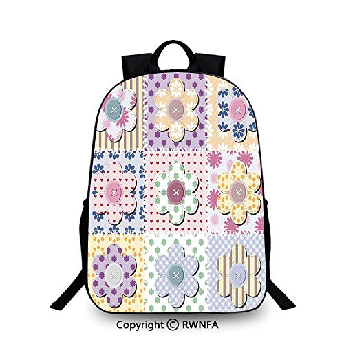 Notebook computer schoolbag,Arts and Crafts Theme Handiwork Quilting Stitches Daisy Motifs Sew Image Print Decorative Travel College School Bags Multicolor