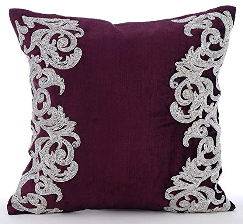 The HomeCentric Luxury Plum Decorative Pillows Cover, Beaded Floral Border Pillows Cover, 14