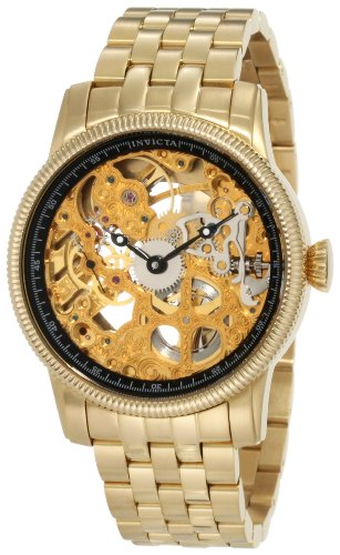 Invicta Men's 10240 Specialty Mechanical Gold Tone Skeleton Dial; 18k Gold Ion-Plated Stainless Steel Watch
