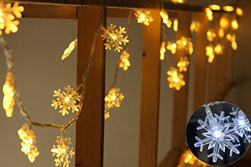 Decorative Lights Christmas lights, 19.7 feet, 40 LED, Christmas gifts, Christmas weddings, party lights Snow flake String Lights Christmas Garland With Lights
