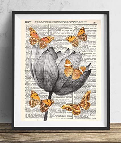 Lotus Flower With Butterflies Dictionary Art Print 8x10]()