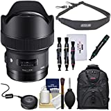 Sigma 14mm f/1.8 ART DG HSM Lens with USB Dock + Backpack + Sling Strap + Kit for Canon EOS Digital SLR Cameras