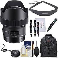 Sigma 14mm f/1.8 ART DG HSM Lens with USB Dock + Backpack + Sling Strap + Kit for Nikon Digital SLR Cameras
