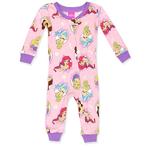 Disney Baby Girls Multi-Princess Cotton Non-Footed Pajama, Pink, 12M