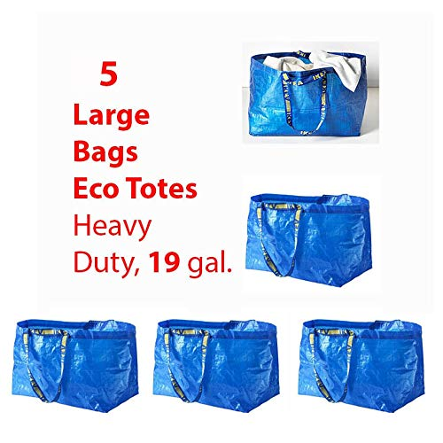 Shopping Bag Blue 5Pk Large Frakta Grocery Laundry Tote Tkmini9 from Unknown
