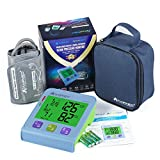Amplim Digital Blood Pressure Monitor, Automatic Upper Arm Universal Cuff and Premium Travel Storage Case, Jumbo Color Backlit Display, 180 Memory, Includes Batteries, Blue Green