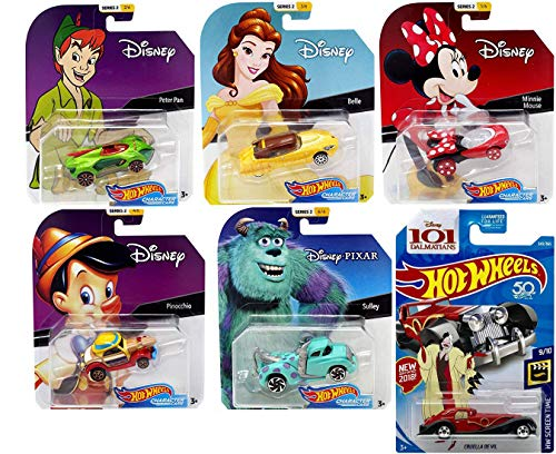 Hot Wheels Toons Cars Disney Collection Cruella De Vil 343 / 101 Dalmatians / Minnie Mouse & Princess Belle / Monsters Inc. Mike & Sulley Tow Truck / Peter Pan Pinocchio Cap 6 Pop die-cast
