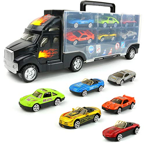 Big Mo's Toys Transport Car Carrier Truck - with 6 Stylish Metal Racing Cars - with Carrying Case