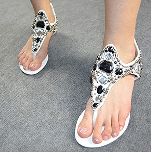 Ama (tm) Dames Sandalen Met Diamanten Kralen Clip Neus Platte Slippers Sandalen Strandschoenen Wit
