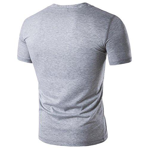 Col 2018 Blouse Chemisier shirt Courtes Nouveau Mode Tops Slim À T D'été Bouton Pure Casual Élasticité Couleur Gris Vêtements Gilet Manches Rond Hommes Adeshop fYaznBB