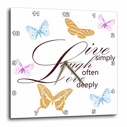 3dRose DPP_79139_1 Live, Laugh, Love with Pretty Butterflies Wall Clock, 10 by 10-Inch